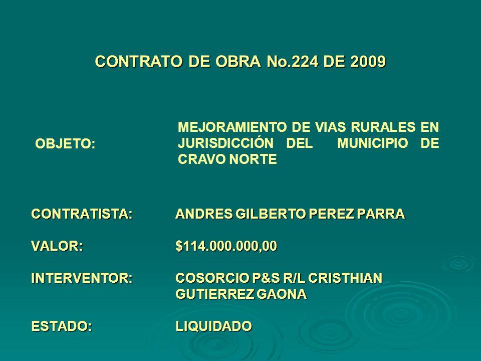 CONTRATISTA:ANDRES GILBERTO PEREZ PARRA VALOR:$114.000.000,00 INTERVENTOR:COSORCIO P&S R/L CRISTHIAN GUTIERREZ GAONA ESTADO:LIQUIDADO CONTRATO DE OBRA No.224 DE 2009 OBJETO: MEJORAMIENTO DE VIAS RURALES EN JURISDICCIÓN DEL MUNICIPIO DE CRAVO NORTE
