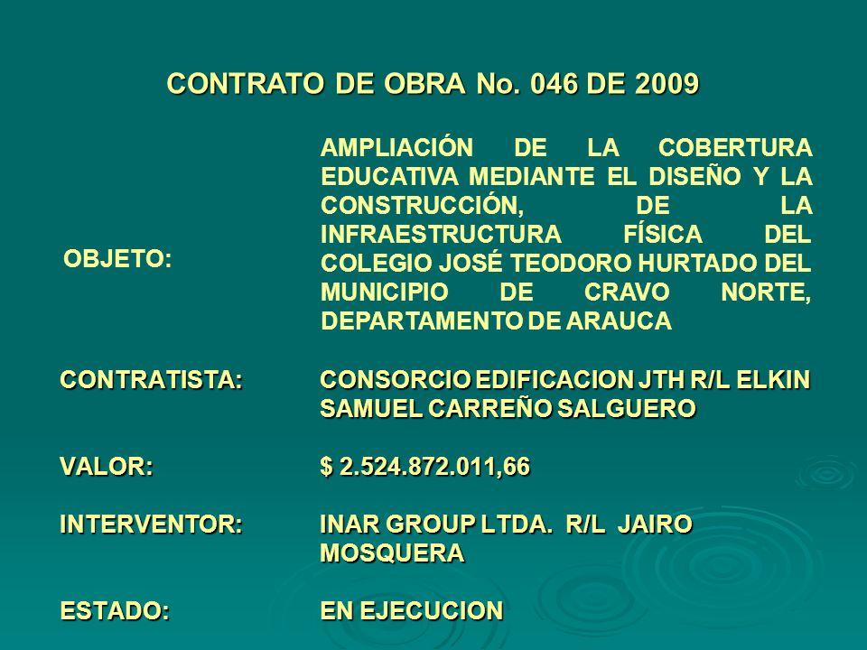 CONTRATISTA:CONSORCIO EDIFICACION JTH R/L ELKIN SAMUEL CARREÑO SALGUERO VALOR:$ 2.524.872.011,66 INTERVENTOR:INAR GROUP LTDA.