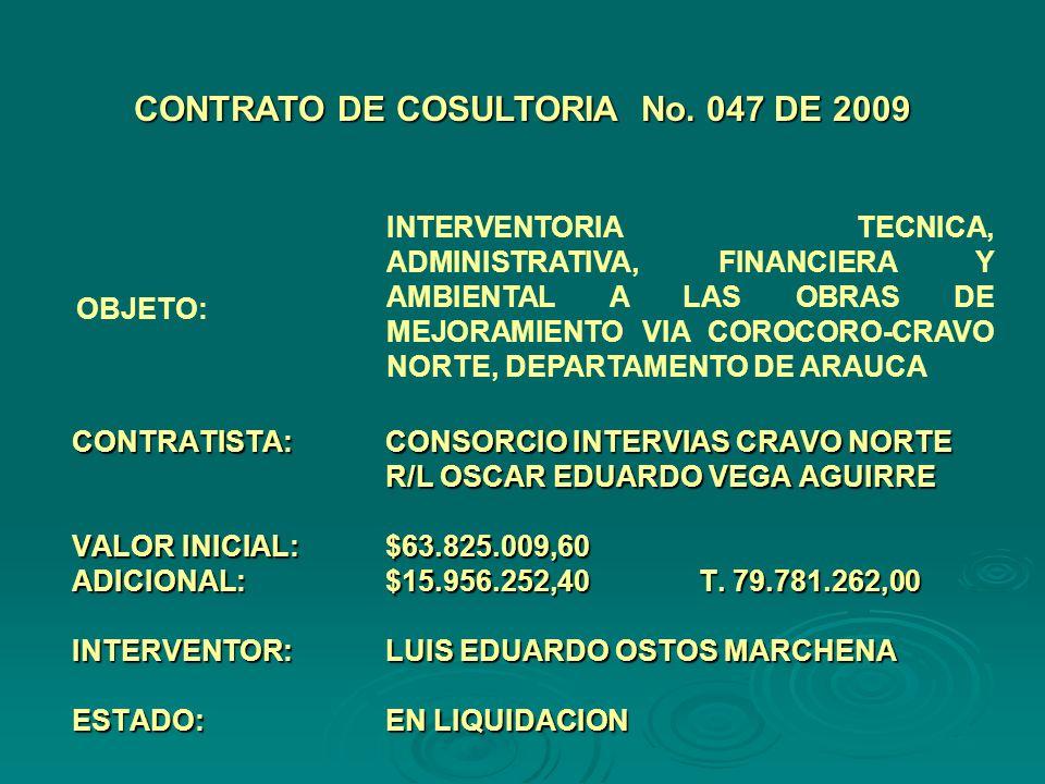 CONTRATISTA:CONSORCIO INTERVIAS CRAVO NORTE R/L OSCAR EDUARDO VEGA AGUIRRE VALOR INICIAL:$63.825.009,60 ADICIONAL:$15.956.252,40 T.