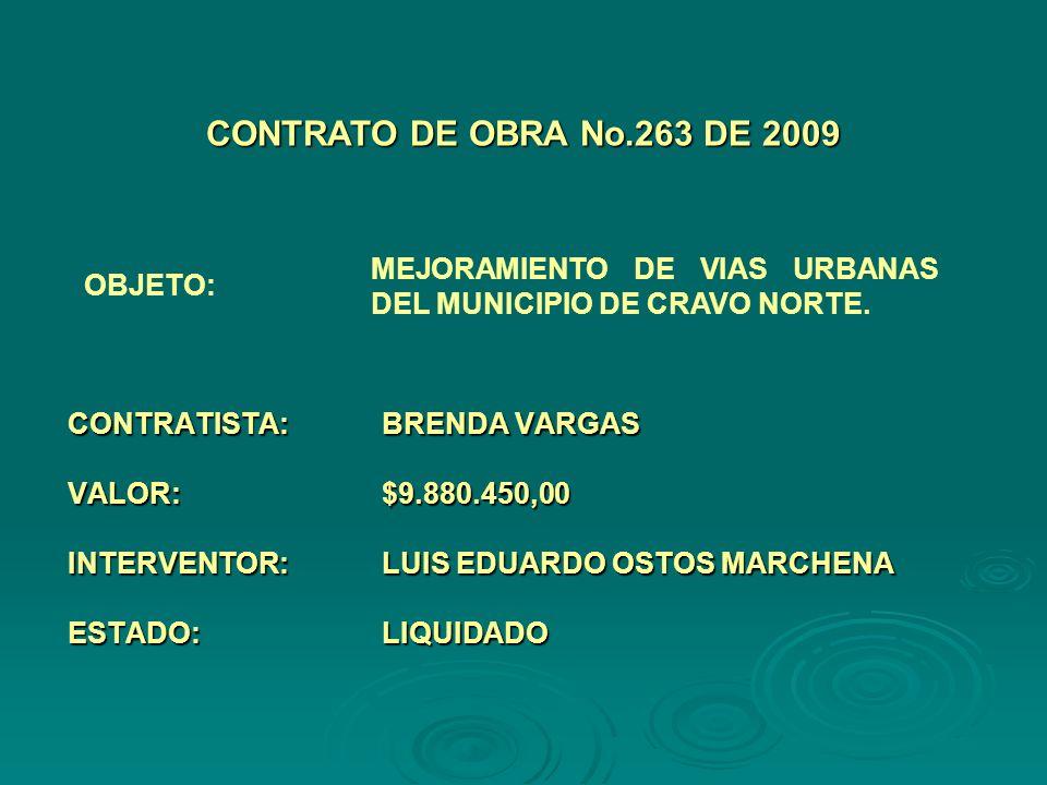 CONTRATISTA:HELMER NEID HIDALGO MADRID VALOR:$5.606.760,00 INTERVENTOR:LUIS EDUARDO OSTOS MARCHENA ESTADO:LIQUIDADO CONTRATO DE OBRA No.