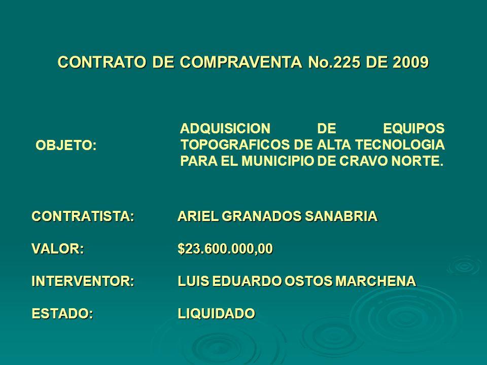 CONTRATISTA:ARIEL GRANADOS SANABRIA VALOR:$23.600.000,00 INTERVENTOR:LUIS EDUARDO OSTOS MARCHENA ESTADO:LIQUIDADO CONTRATO DE COMPRAVENTA No.225 DE 2009 OBJETO: ADQUISICION DE EQUIPOS TOPOGRAFICOS DE ALTA TECNOLOGIA PARA EL MUNICIPIO DE CRAVO NORTE.