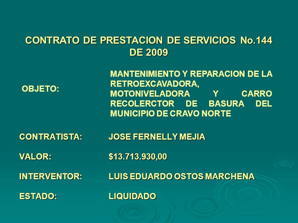 CONTRATISTA:JOSE FERNELLY MEJIA VALOR:$13.713.930,00 INTERVENTOR:LUIS EDUARDO OSTOS MARCHENA ESTADO:LIQUIDADO CONTRATO DE PRESTACION DE SERVICIOS No.144 DE 2009 OBJETO: MANTENIMIENTO Y REPARACION DE LA RETROEXCAVADORA, MOTONIVELADORA Y CARRO RECOLERCTOR DE BASURA DEL MUNICIPIO DE CRAVO NORTE