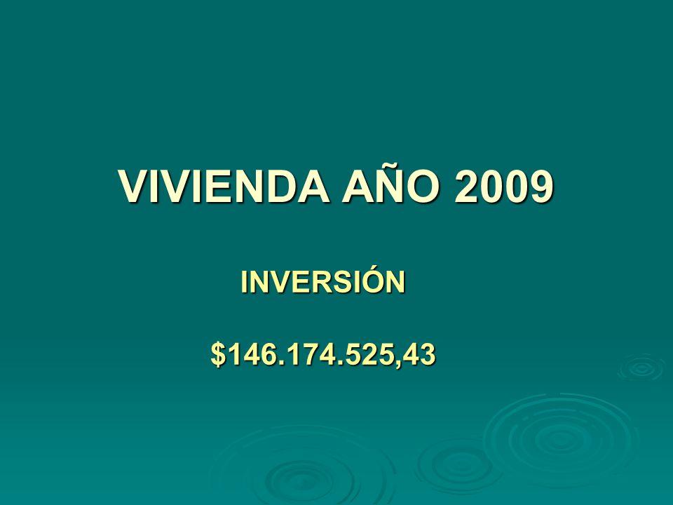 VIVIENDA AÑO 2009 INVERSIÓN$146.174.525,43