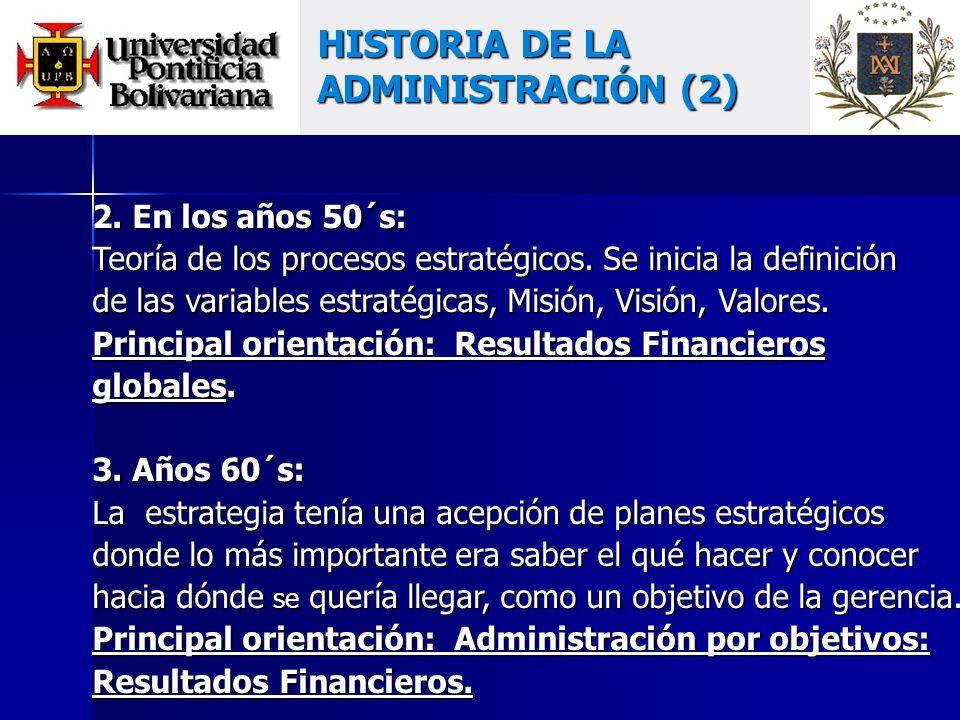 2. En los años 50´s: Teoría de los procesos estratégicos.