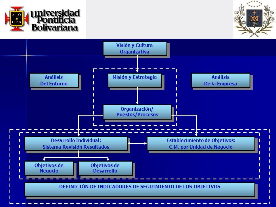 Visión y Cultura Organizativa Visión y Cultura Organizativa Misión y Estrategia Organización/ Puestos/Procesos Análisis Del Entorno Análisis Del Entorno Análisis De la Empresa Análisis De la Empresa Desarrollo Individual: Sistema Revisión Resultados Desarrollo Individual: Sistema Revisión Resultados Establecimiento de Objetivos: C.M.