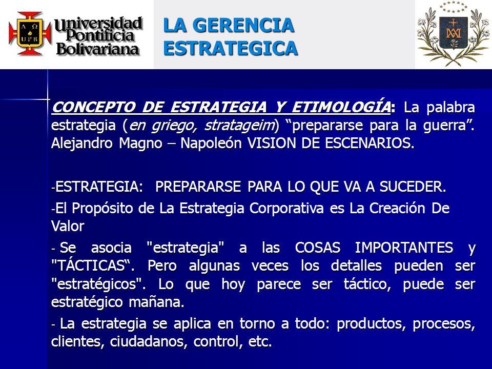 CONCEPTO DE ESTRATEGIA Y ETIMOLOGÍA: La palabra estrategia (en griego, stratageim) prepararse para la guerra.