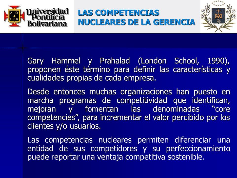 Gary Hammel y Prahalad (London School, 1990), proponen éste término para definir las características y cualidades propias de cada empresa.