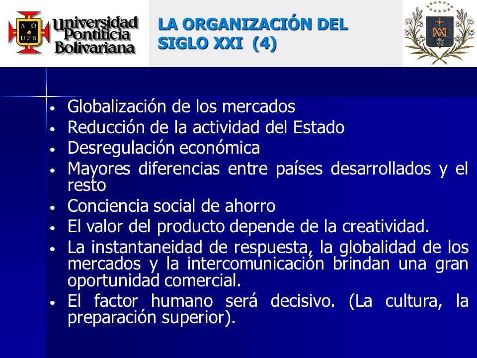 Globalización de los mercados Reducción de la actividad del Estado Desregulación económica Mayores diferencias entre países desarrollados y el resto Conciencia social de ahorro El valor del producto depende de la creatividad.