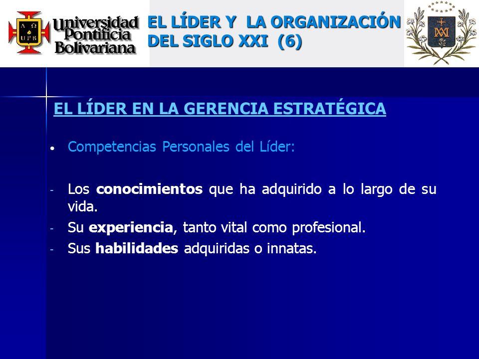 EL LÍDER EN LA GERENCIA ESTRATÉGICA Competencias Personales del Líder: - Los conocimientos que ha adquirido a lo largo de su vida.