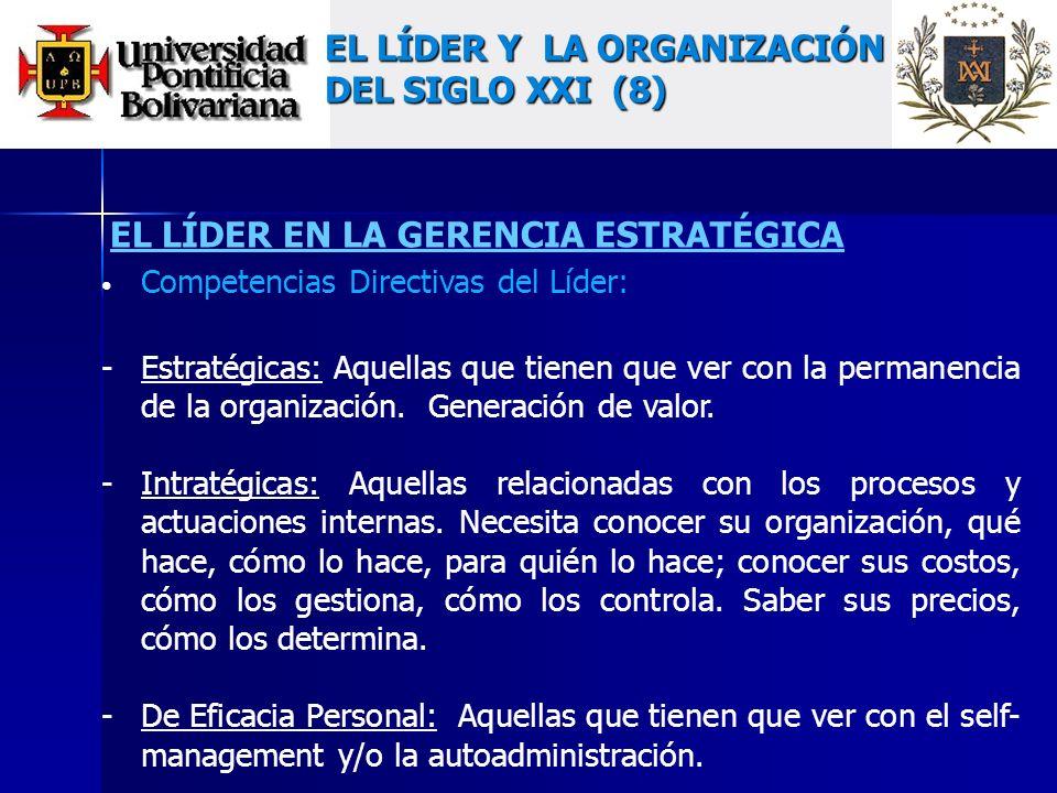 EL LÍDER EN LA GERENCIA ESTRATÉGICA Competencias Directivas del Líder: -Estratégicas: Aquellas que tienen que ver con la permanencia de la organización.
