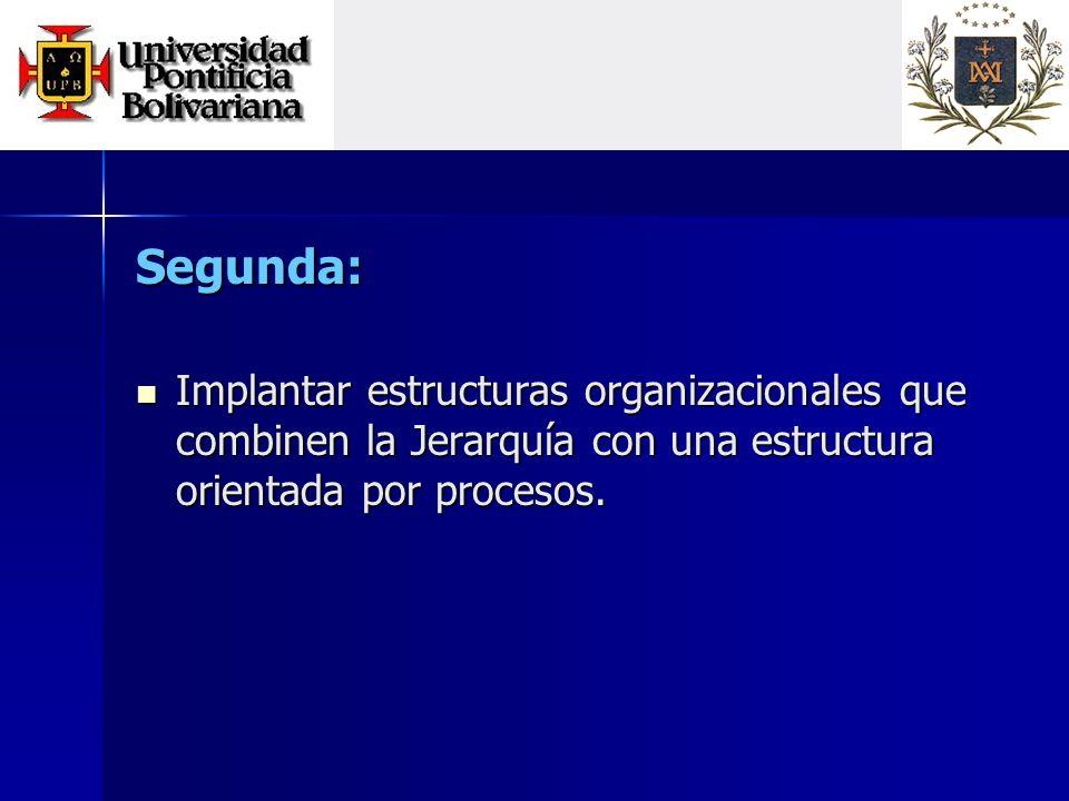Segunda: Implantar estructuras organizacionales que combinen la Jerarquía con una estructura orientada por procesos.