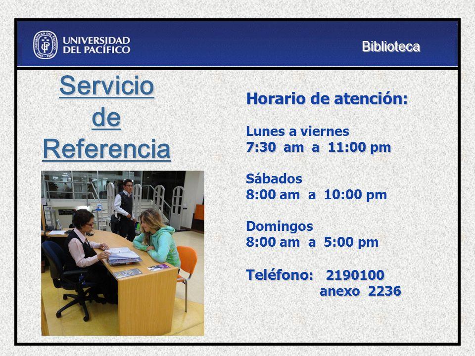 Horario de atención: 7:30 am a 11:00 pm Lunes a viernes 7:30 am a 11:00 pm Sábados 8:00 am a 10:00 pm Domingos Teléfono : 2190100 anexo 2236 8:00 am a