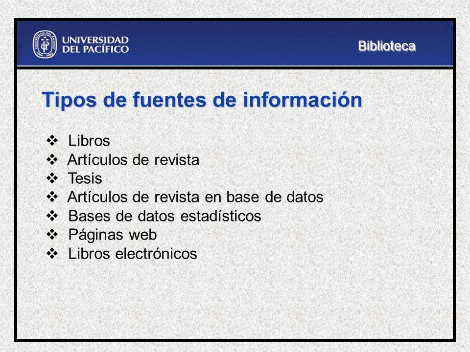 Tipos de fuentes de información Libros Artículos de revista Tesis Artículos de revista en base de datos Bases de datos estadísticos Páginas web Libros