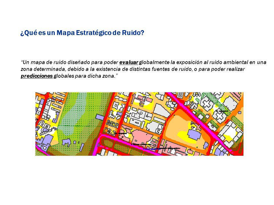 Un mapa de ruido diseñado para poder evaluar globalmente la exposición al ruido ambiental en una zona determinada, debido a la existencia de distintas