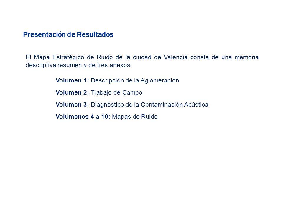 Presentación de Resultados El Mapa Estratégico de Ruido de la ciudad de Valencia consta de una memoria descriptiva resumen y de tres anexos: Volumen 1