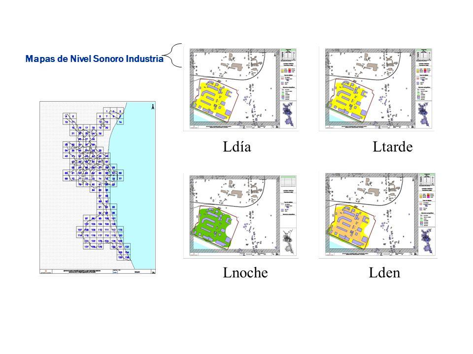 LdíaLtarde LnocheLden Mapas de Nivel Sonoro Industria