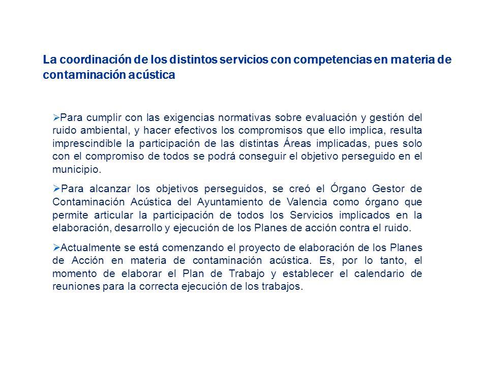 La coordinación de los distintos servicios con competencias en materia de contaminación acústica Para cumplir con las exigencias normativas sobre eval