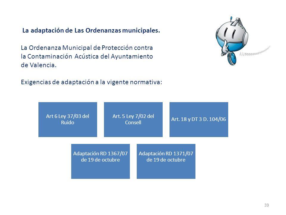 39 La adaptación de Las Ordenanzas municipales. La Ordenanza Municipal de Protección contra la Contaminación Acústica del Ayuntamiento de Valencia. Ex