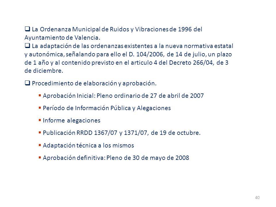 40 La Ordenanza Municipal de Ruidos y Vibraciones de 1996 del Ayuntamiento de Valencia. La adaptación de las ordenanzas existentes a la nueva normativ