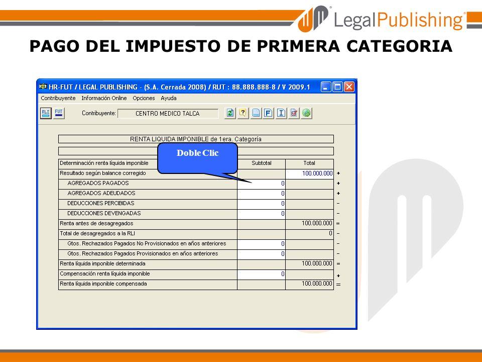 PAGO DEL IMPUESTO DE PRIMERA CATEGORIA Doble Clic