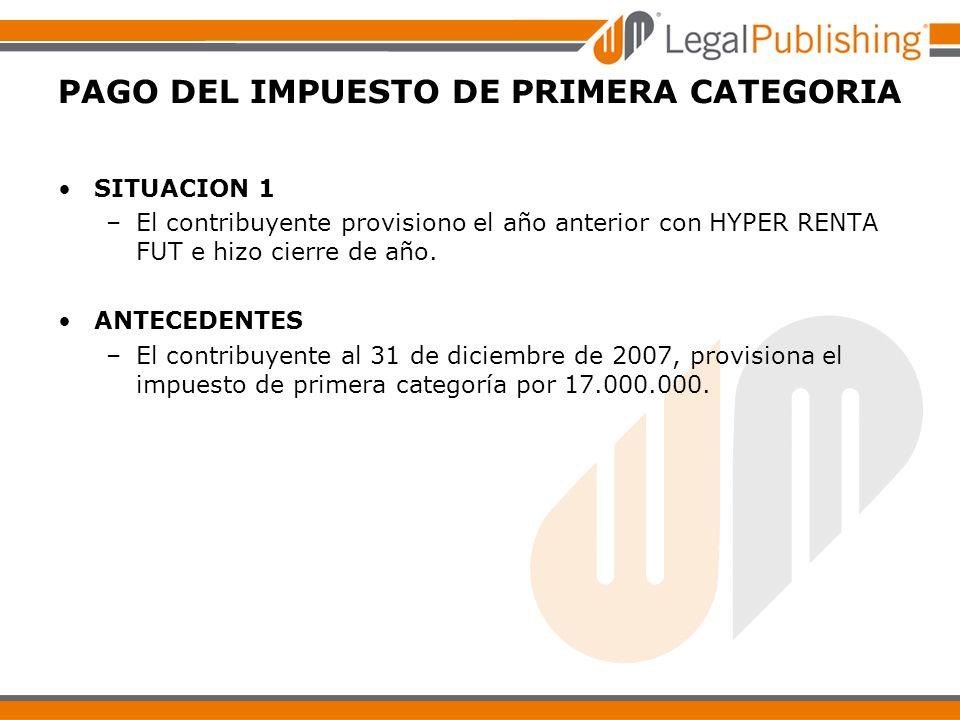 PAGO DEL IMPUESTO DE PRIMERA CATEGORIA SITUACION 1 –El contribuyente provisiono el año anterior con HYPER RENTA FUT e hizo cierre de año. ANTECEDENTES