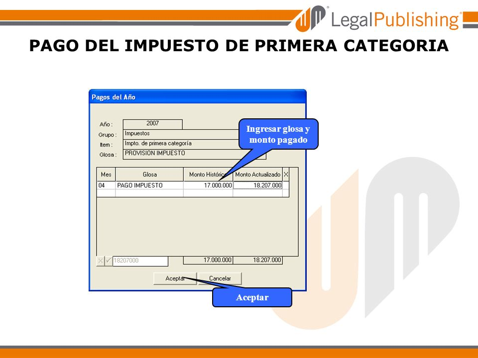 PAGO DEL IMPUESTO DE PRIMERA CATEGORIA Aceptar