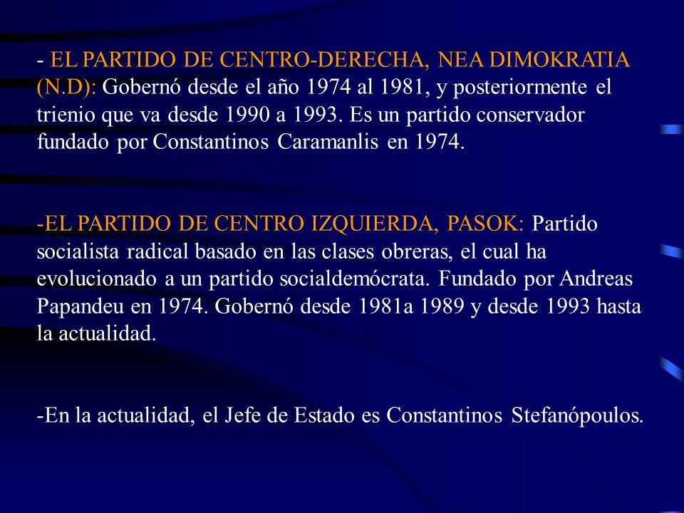 - EL PARTIDO DE CENTRO-DERECHA, NEA DIMOKRATIA (N.D): Gobernó desde el año 1974 al 1981, y posteriormente el trienio que va desde 1990 a 1993. Es un p