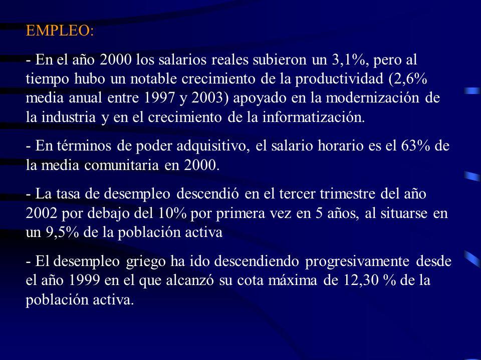 EMPLEO: - En el año 2000 los salarios reales subieron un 3,1%, pero al tiempo hubo un notable crecimiento de la productividad (2,6% media anual entre