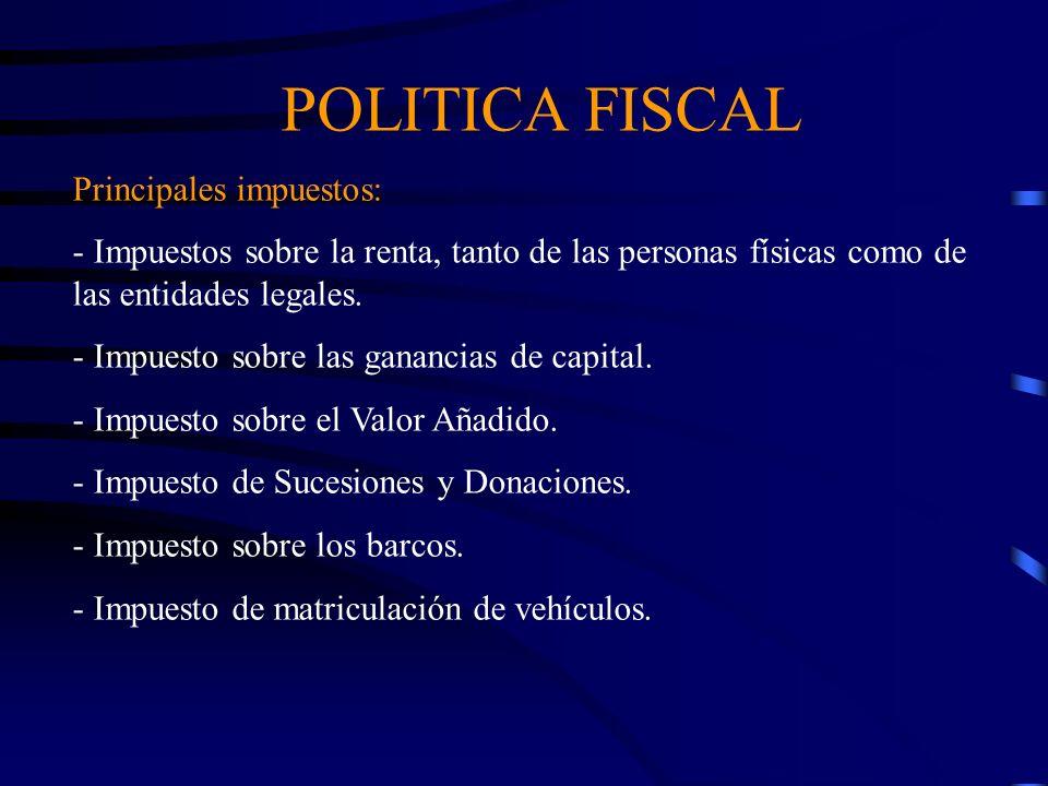 POLITICA FISCAL Principales impuestos: - Impuestos sobre la renta, tanto de las personas físicas como de las entidades legales. - Impuesto sobre las g