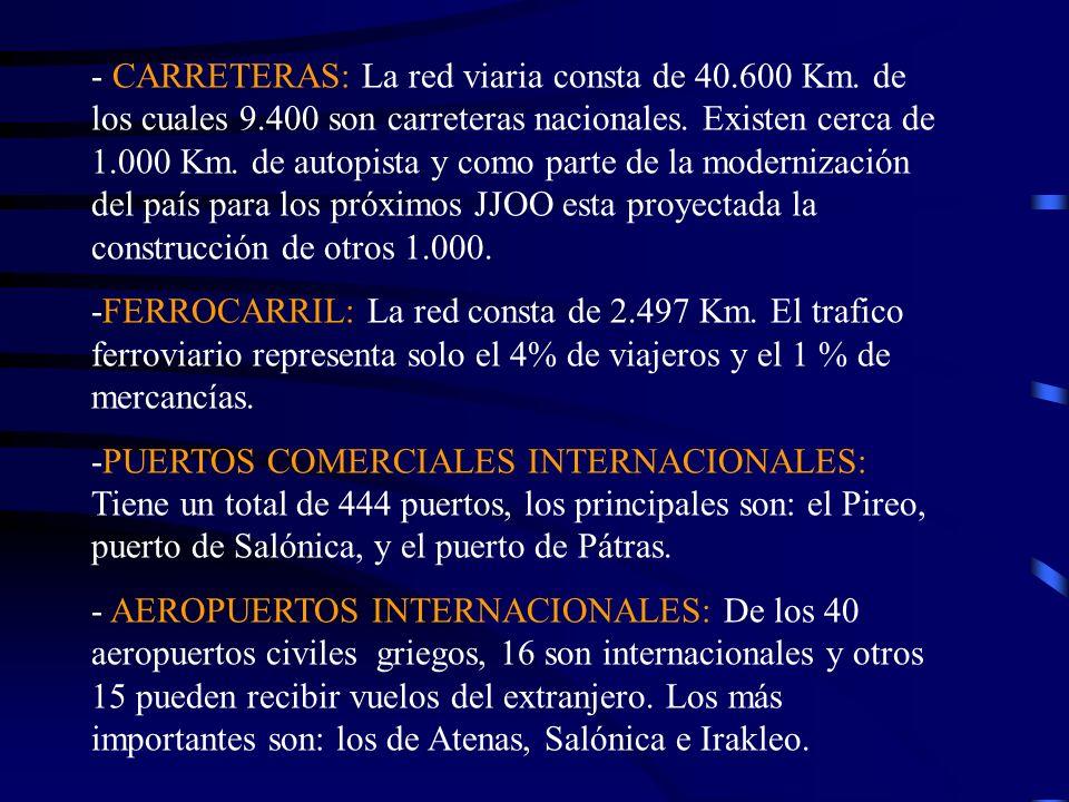 - CARRETERAS: La red viaria consta de 40.600 Km. de los cuales 9.400 son carreteras nacionales. Existen cerca de 1.000 Km. de autopista y como parte d