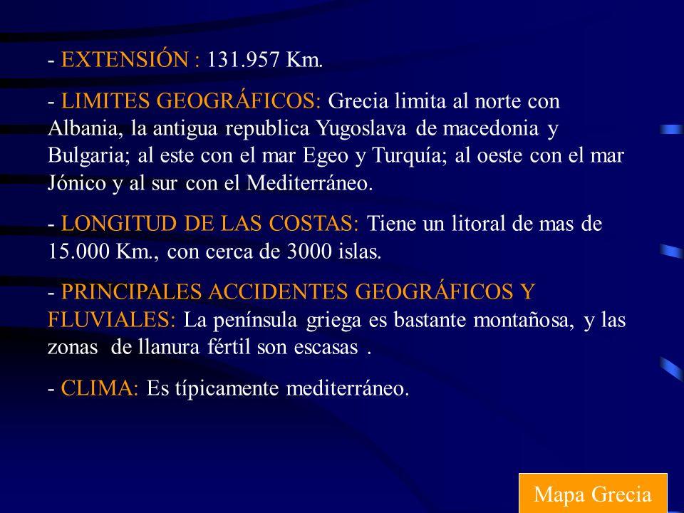 - EXTENSIÓN : 131.957 Km. - LIMITES GEOGRÁFICOS: Grecia limita al norte con Albania, la antigua republica Yugoslava de macedonia y Bulgaria; al este c