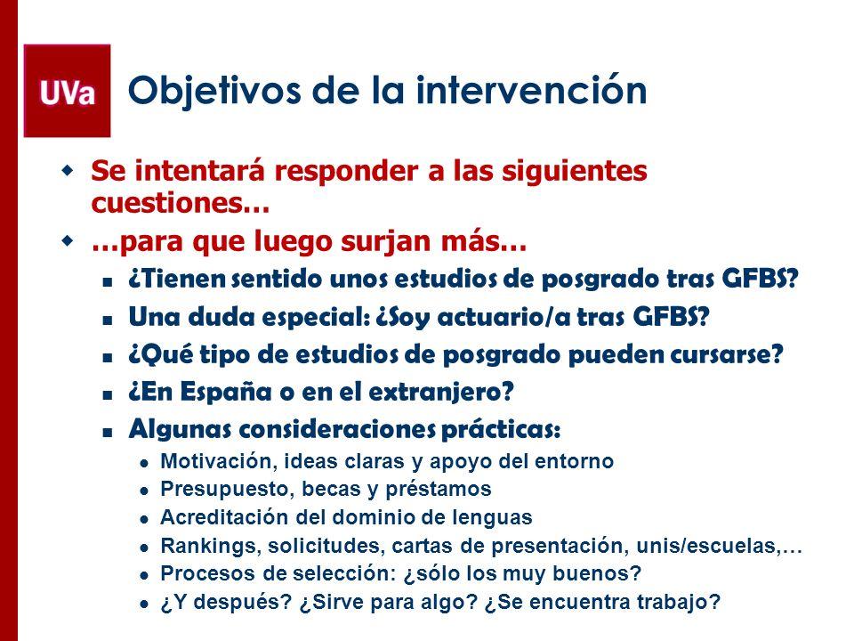 Objetivos de la intervención Se intentará responder a las siguientes cuestiones… …para que luego surjan más… ¿Tienen sentido unos estudios de posgrado