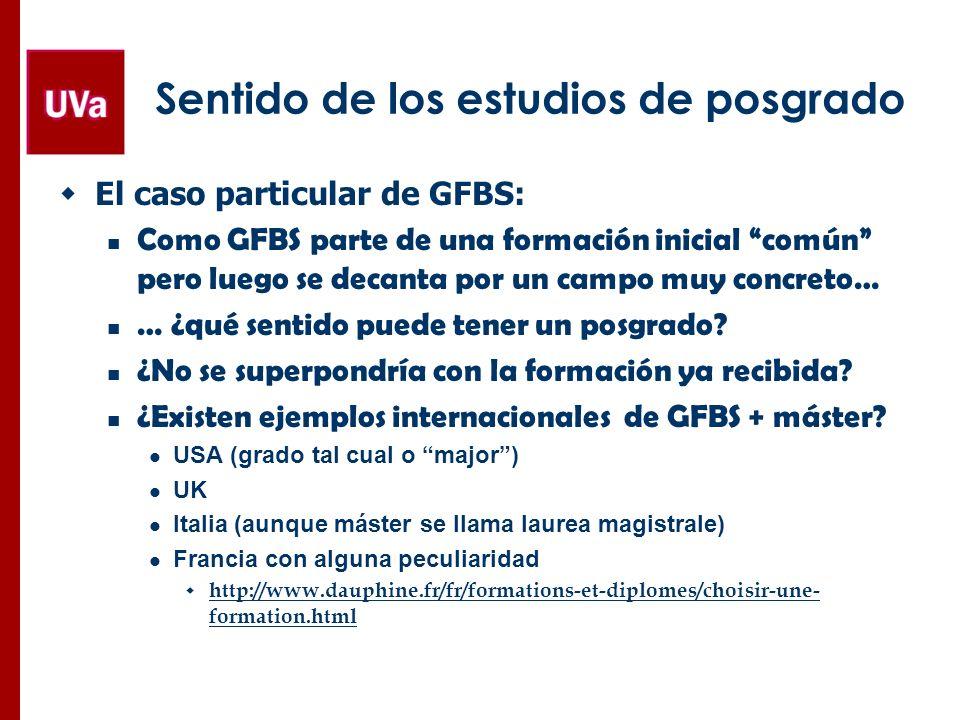 Sentido de los estudios de posgrado El caso particular de GFBS: Como GFBS parte de una formación inicial común pero luego se decanta por un campo muy