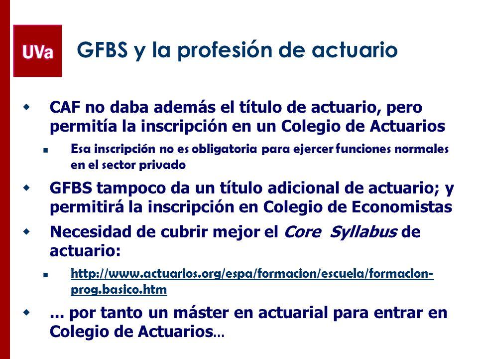 GFBS y la profesión de actuario CAF no daba además el título de actuario, pero permitía la inscripción en un Colegio de Actuarios Esa inscripción no e