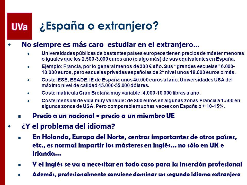 Algunas consideraciones prácticas Motivación, ideas claras y apoyo del entorno Fundamental, tanto para España como para el extranjero Presupuesto, becas y préstamos Coste matrícula + buscar webs coste de vida (hay muchas) http://www.club-mba.com/becas-de-posgrado Acreditación del dominio de lenguas Se pide incluso en muchos másteres españoles TOEFL 80-85, IELTS 6-6.5, Marco Europeo Lenguas B2 (mejor algo +) Rankings, solicitudes, cartas de presentación,… No guiarse ciegamente por los rankings Solicitar a más de un Centro en España y al menos 3-5 en el extranjero Cartas de presentación: habitualmente 2 (por ej., una de profe y otra de profesional) Universidades y escuelas: hay webs de los gobiernos nacionales y buscadores específicos