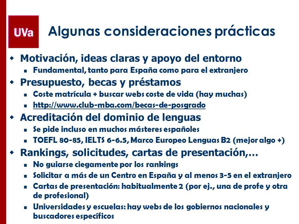 Algunas consideraciones prácticas Motivación, ideas claras y apoyo del entorno Fundamental, tanto para España como para el extranjero Presupuesto, bec