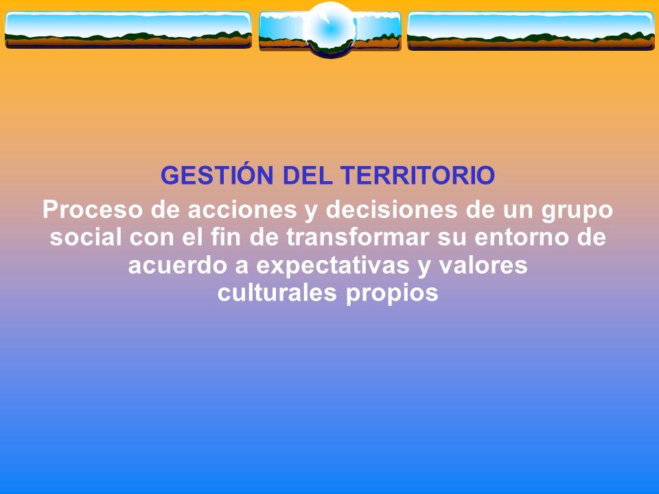 GESTIÓN DEL TERRITORIO Proceso de acciones y decisiones de un grupo social con el fin de transformar su entorno de acuerdo a expectativas y valores culturales propios