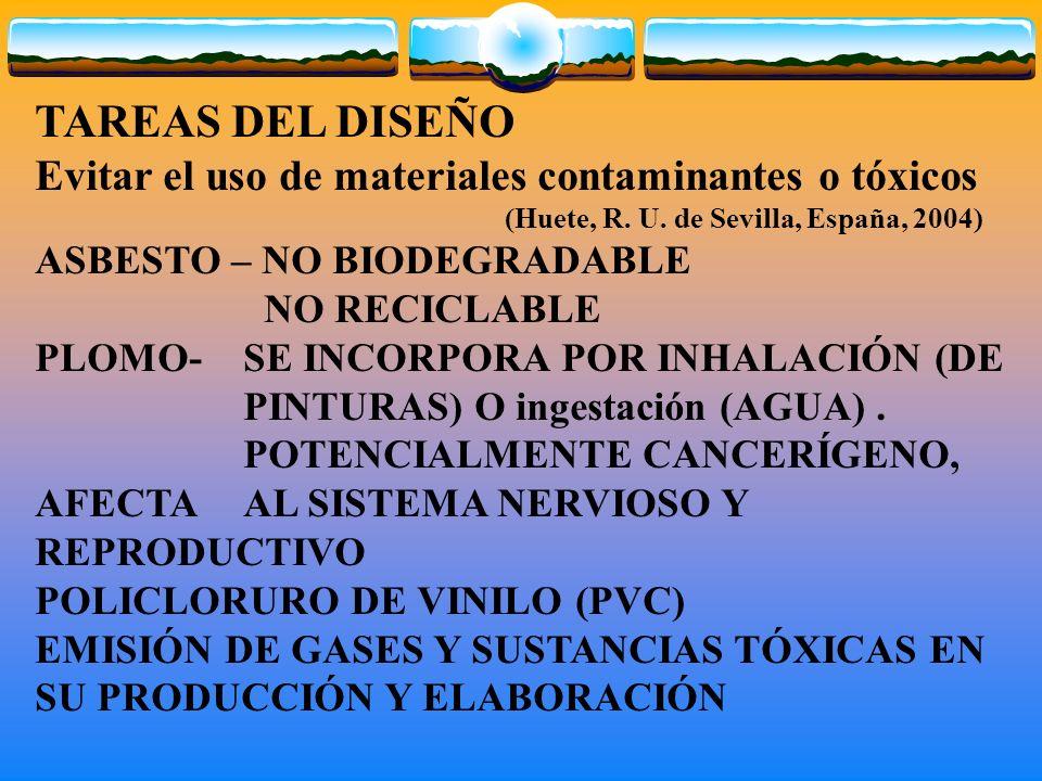 TAREAS DEL DISEÑO Evitar el uso de materiales contaminantes o tóxicos (Huete, R. U. de Sevilla, España, 2004) ASBESTO – NO BIODEGRADABLE NO RECICLABLE
