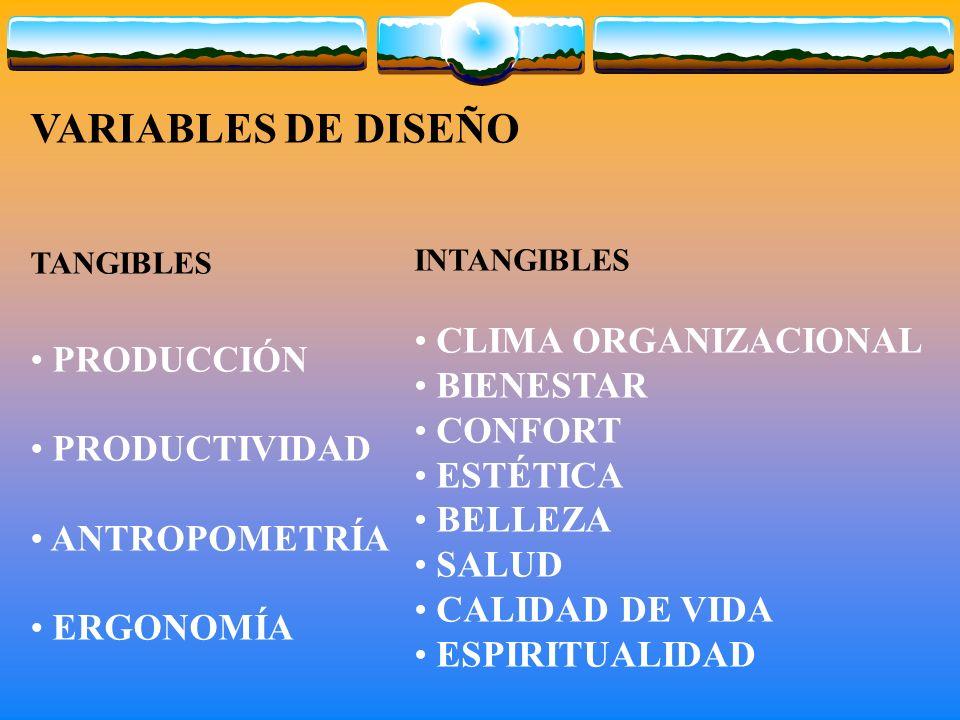 VARIABLES DE DISEÑO TANGIBLES PRODUCCIÓN PRODUCTIVIDAD ANTROPOMETRÍA ERGONOMÍA INTANGIBLES CLIMA ORGANIZACIONAL BIENESTAR CONFORT ESTÉTICA BELLEZA SALUD CALIDAD DE VIDA ESPIRITUALIDAD