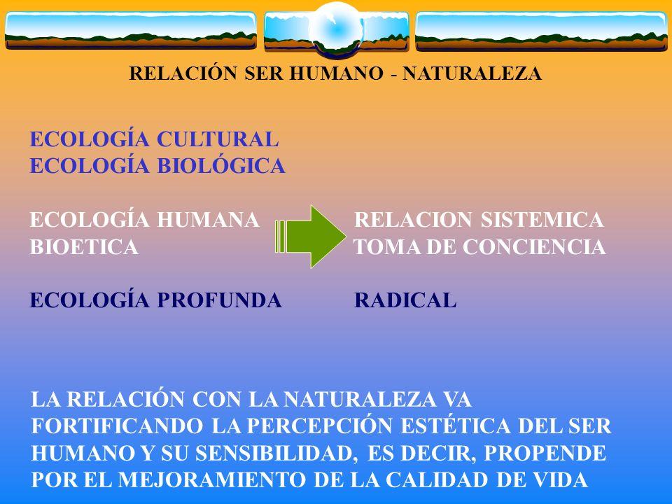 RELACIÓN SER HUMANO - NATURALEZA LA RELACIÓN CON LA NATURALEZA VA FORTIFICANDO LA PERCEPCIÓN ESTÉTICA DEL SER HUMANO Y SU SENSIBILIDAD, ES DECIR, PROPENDE POR EL MEJORAMIENTO DE LA CALIDAD DE VIDA ECOLOGÍA CULTURAL ECOLOGÍA BIOLÓGICA ECOLOGÍA HUMANA RELACION SISTEMICA BIOETICA TOMA DE CONCIENCIA ECOLOGÍA PROFUNDA RADICAL
