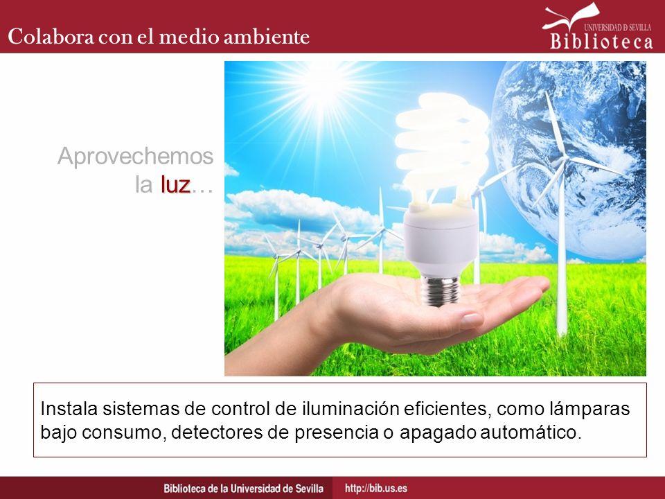 Colabora con el medio ambiente Instala sistemas de control de iluminación eficientes, como lámparas bajo consumo, detectores de presencia o apagado au