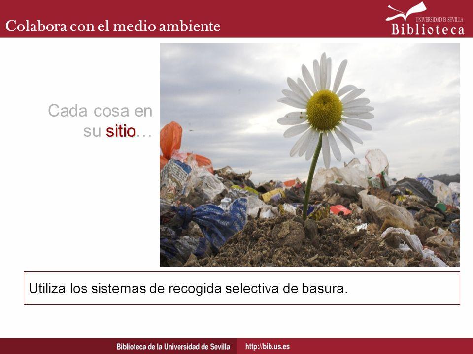 Colabora con el medio ambiente Utiliza los sistemas de recogida selectiva de basura. Cada cosa en sitio su sitio…