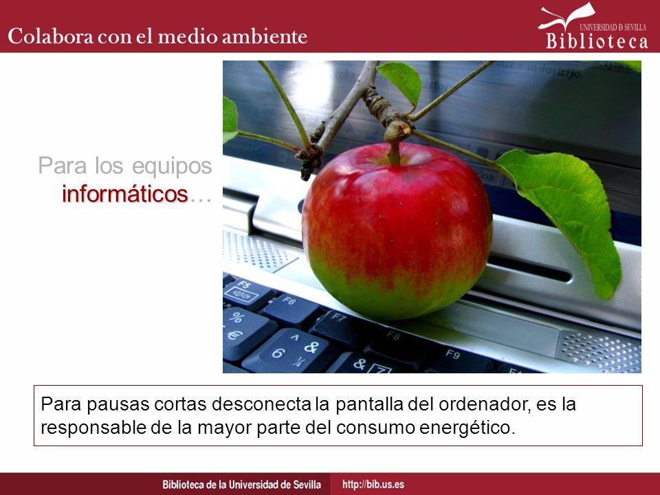 Colabora con el medio ambiente Para pausas cortas desconecta la pantalla del ordenador, es la responsable de la mayor parte del consumo energético. in