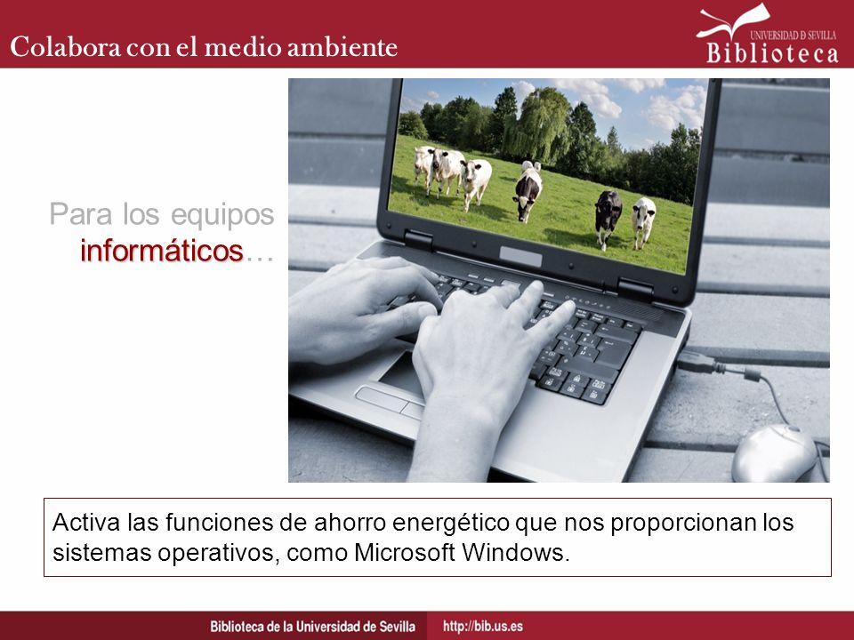 Colabora con el medio ambiente Activa las funciones de ahorro energético que nos proporcionan los sistemas operativos, como Microsoft Windows. informá