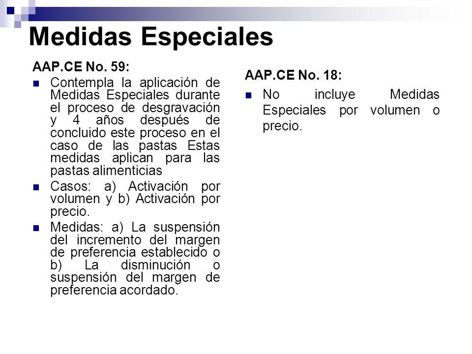 Medidas Especiales AAP.CE No. 59: Contempla la aplicación de Medidas Especiales durante el proceso de desgravación y 4 años después de concluido este