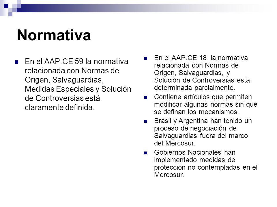 Normativa En el AAP.CE 59 la normativa relacionada con Normas de Origen, Salvaguardias, Medidas Especiales y Solución de Controversias está claramente