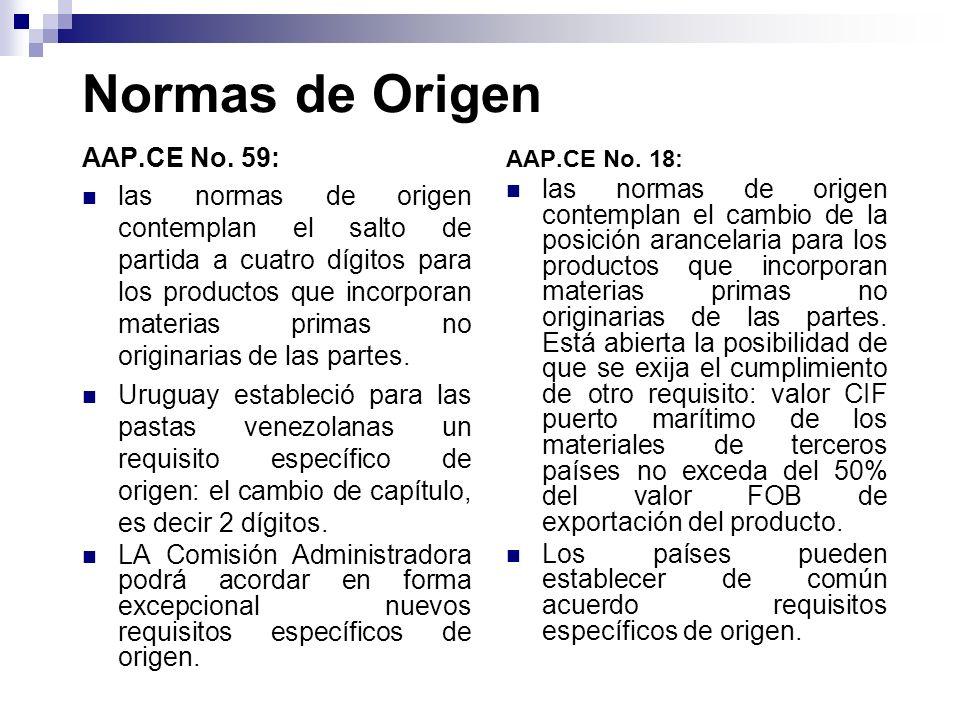 Normas de Origen AAP.CE No. 59: las normas de origen contemplan el salto de partida a cuatro dígitos para los productos que incorporan materias primas