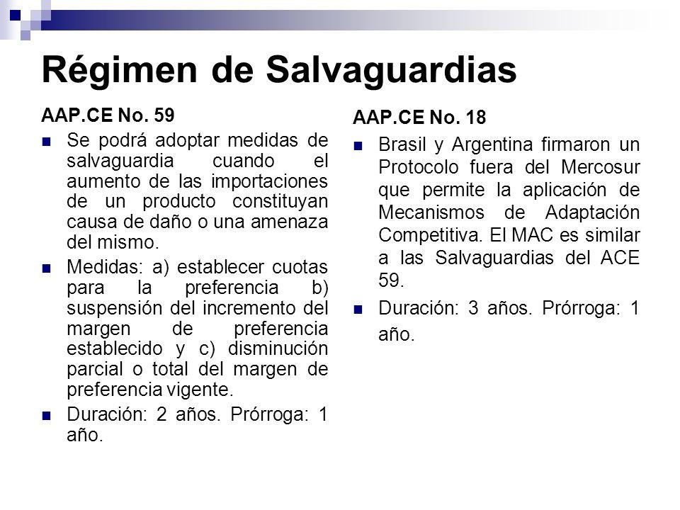 Régimen de Salvaguardias AAP.CE No. 59 Se podrá adoptar medidas de salvaguardia cuando el aumento de las importaciones de un producto constituyan caus