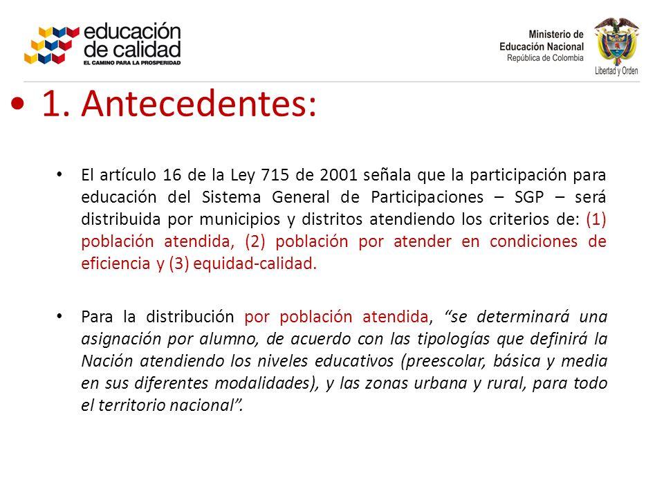 1. Antecedentes: El artículo 16 de la Ley 715 de 2001 señala que la participación para educación del Sistema General de Participaciones – SGP – será d
