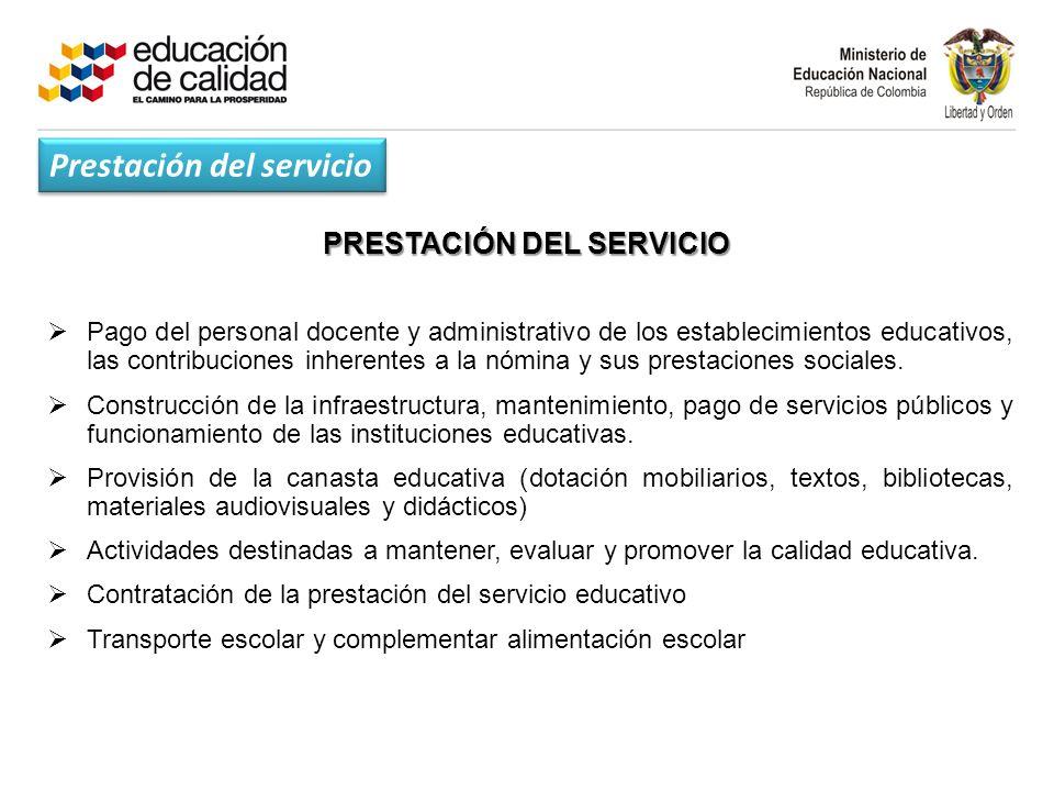 PRESTACIÓN DEL SERVICIO Pago del personal docente y administrativo de los establecimientos educativos, las contribuciones inherentes a la nómina y sus prestaciones sociales.
